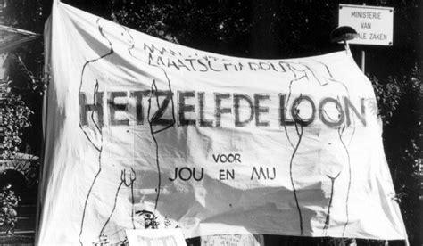 actie voor gelijk loon vrouwen mannen bij ministerie voor sociale zaken 1981