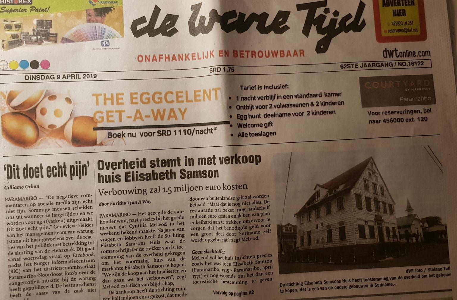 Krant De Ware Tijd over Elisabeth Samson Huis