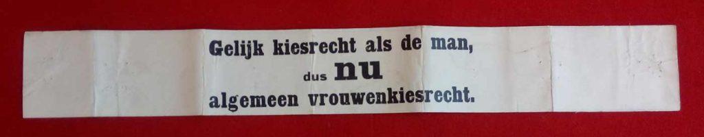 wikkel Gelijk kiesrecht, algemeen vrouwenkiesrecht (Atria collectie p002303)