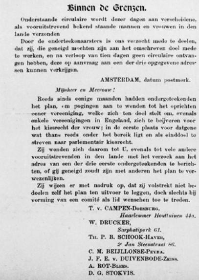 Oproep tot oprichting van een vereniging voor vrouwenkiesrecht in Evolutie, 3 mei 1893 (collectie Atria)
