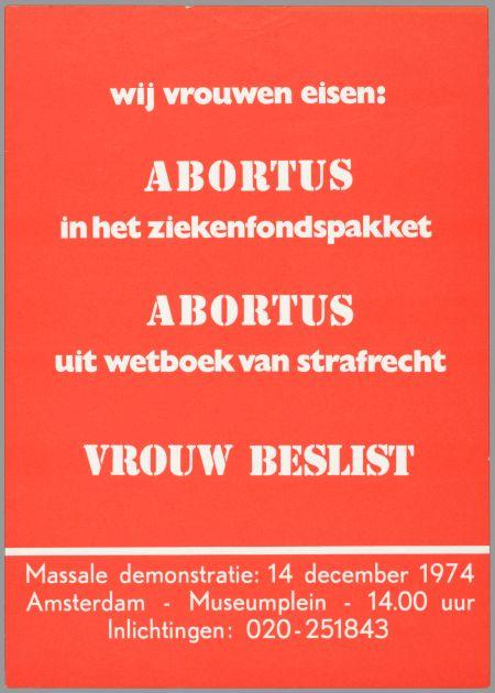 affiche met de eisen mbt abortus van wij vrouwen